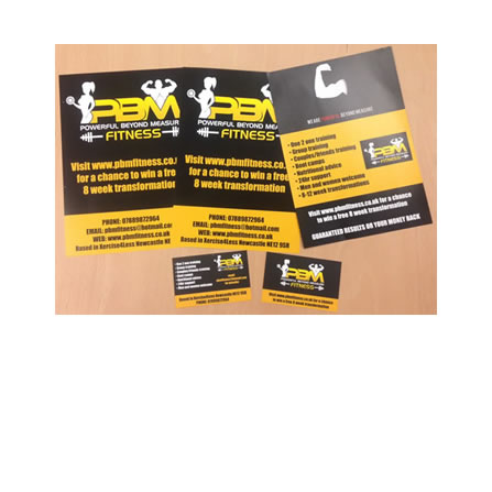 PBM fitness leaflets and business cards