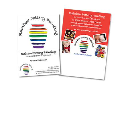Rainbow Pottery branding and leaflets